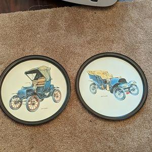 2 vintage car serving trays